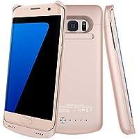 HWeggo Custodia Protettiva con Batteria 5200 mAh Esterna per Samsung Galaxy S7 Edge (Rose Gold )