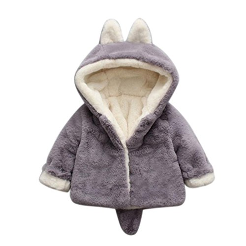 Baby Kinder Mädchen Fleecejacke mit Kapuze Fell Warm Winter Mantel Jacke Kinderjacken Kleidung (12 Monate, Grau)