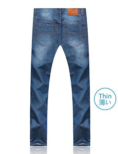 Demon and Hunter 806 Serie Herren Regulär Gerade geschnitten Jeanshose Jeans DH8105Q x Blau x Dünn