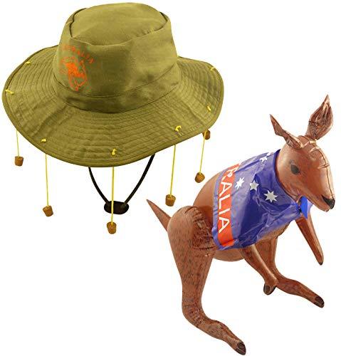 Labreeze Erwachsene australische Hut 10 Korken Hut mit aufblasbarem Känguru-Kostüm (Kork Hut Kostüm)