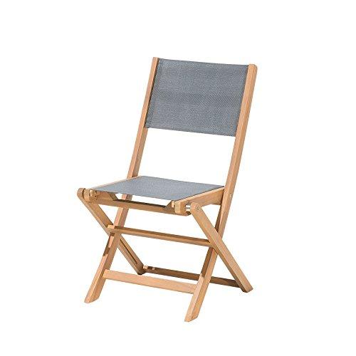 Beliani Gartenstuhl Holz Textilene dunkelgrau CESANA