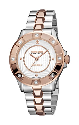 Roberto Cavalli DIAMOND BEZEL Women's Swiss-Quartz Two Tone Stainless Steel Bracelet Diamond Watch
