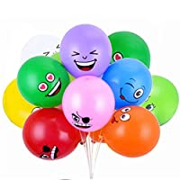 BESLIME Emoji Party Smiley Latex Balloons, 100 Pcs
