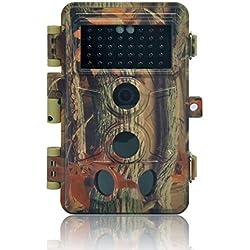 Caméra de Chasse 16MP 1080P IP66 Étanche, Caméra Surveillance avec 40Pcs LED Vision Nocturne Infrarouge Jusqu'à 65FT et Grand Angle 130°