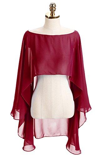 CoCogirls Chiffon Stola Schal für Kleider in verschiedenen Farben zu jedem Brautkleid - Abendkleid, Hochzeit Abend Gala Empfang (One-Size, Dark Red) (Hochzeit Stola)