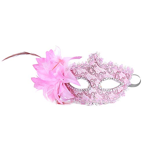 Daliuing Damen Maskenball-Maske, bunte Blumen, Pfirsich, venezianisches Halloween-Kostüm, aus Kunststoff für Karneval Party 17.5 * 11CM rose (Kostüm Blume Gesicht)