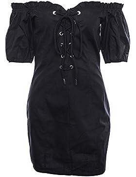 GAOLIM Una Palabra Hombro De Vestir El Hongo Puff Camisa Femenina Falda, S, Negro