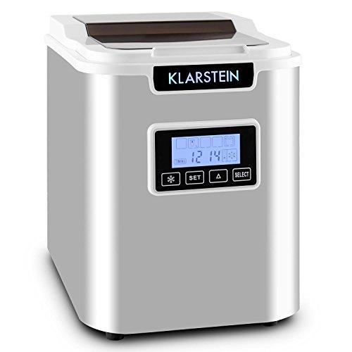Klarstein Icemeister Machine à glaçons • Prêts en 15 minutes • Jusqu'à 12 kg de glace en 24 heures • Trois tailles de glaçon (small, medium, large) • Réservoir de 1,1L • Acier • Minuteur • Blanc