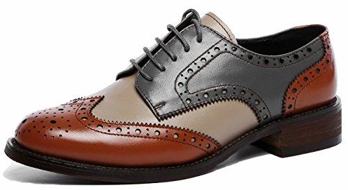 SimpleC Damen Vintage Brogue Bequem Business&Schnürhalbschuhe Leder Klassiker Perforierte Wingtip Oxfords Brownblau