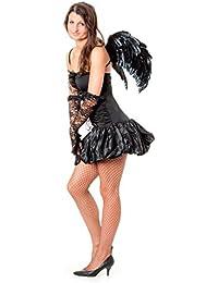 r-dessous sexy Damen Kostüm schwarzer Engel + Flügel dark angel Todesengel Horror Halloween Gothic Fasching