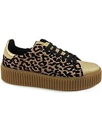 GUESS sneakers platform leopardate TESSUTO BLACK NERO FLDEN3FAB12 inverno 2018 U1T1bejKN