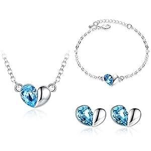 GoSparking Aquamarine cristallo blu dell'oro bianco 18K della lega del cuore ? regolato con il cristallo austriaco per le donne