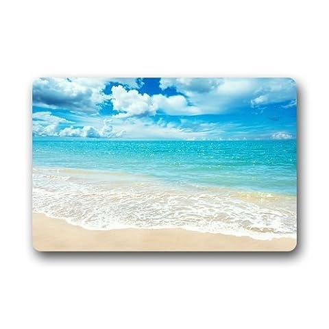 Coucher de soleil Plage Paysage marin lavable en machine antidérapant Paillasson, 23.6(l) x 15.7(L) pouces, Mat 3, 23.6 x 15.7 inch