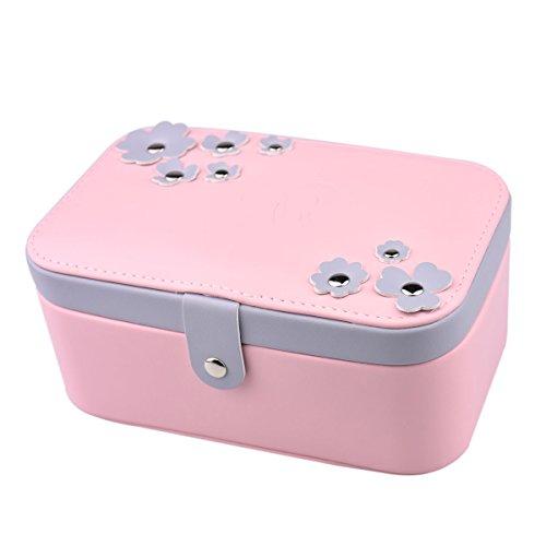 Belons Elegant PU Leder Schmuckkästchen Schmuckbox Schmuckschatulle Schmuckkoffer mit Doppeltem Boden/Spiegel Kosmetikkoffer für Damen Mädchen (Rosa(Doppel Böden))