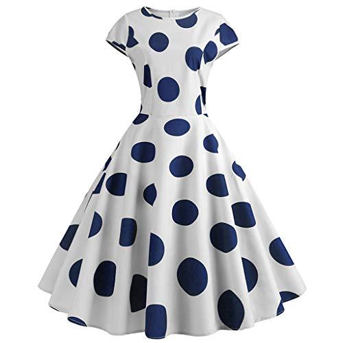 TWIFER Damen Abendkleider Vintage 50Er Jahre Retro Kurzarm Dot Print Abend Party Prom Swing Kleid