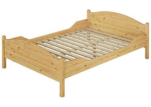 Erst-Holz® Doppelbett 140x200 Kieferbett Massivholz Natur Ehebett Französisches Bett Rollrost 60.30-14