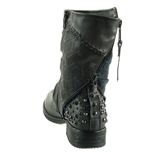 Angkorly - Chaussures Mode Bottines - Biker Femme Cloutée Cloutée Tressée Zip 3 Cm Talon Carré - Doublure Doublée En Fourrure Gris