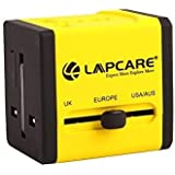 Cables Kart® Lapcare Universal Worldwide Travel Adapter With Built In Dual USB Charger Ports - Yellow