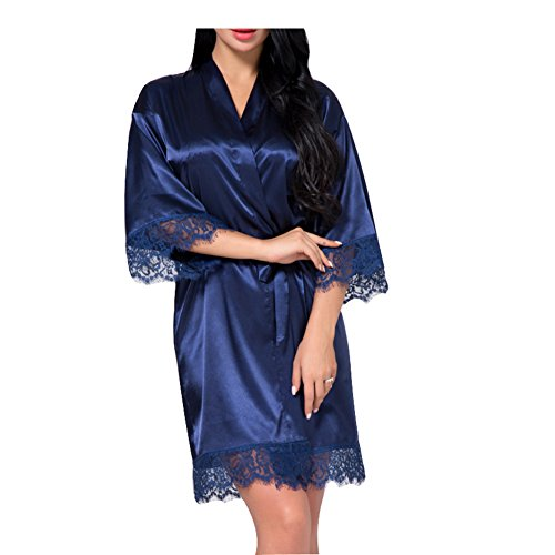 Lace-seide-cardigan (SexyTown Damen Bademantel, kurz, Satin, für Brautjungfern - Blau - Medium)