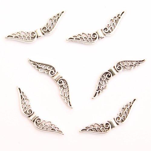 perlenundmehr Metallperle Spacer Engel Fee Flügel Antiksilber 30x7,5mm (10497) 6Stk. (Kapseln Lieben Mütter)