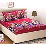C&G 120 TC Microfiber Double 3D Printed Bedsheet (Pack of 1, Pink)
