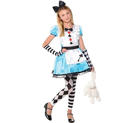 Wunderland Party Kostüm Im Alice - Amscan Kinder Alice Im Wunderland Mädchen Buch Tag Kostüm Verkleidung - Mehrfarbig, EU 128-140