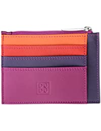 Porta documentos tarjetas en verdadera piel colorada carteras con cremallera DUDU Fucsia