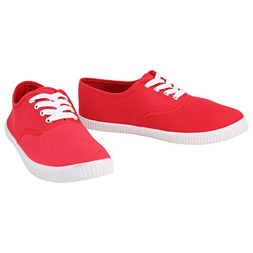 Unisex Basic Sneaker | Damen Sneakers | Herren Sneaker Low | Freizeit Turnschuhe Stoff | Schnürschuhe Rot Red