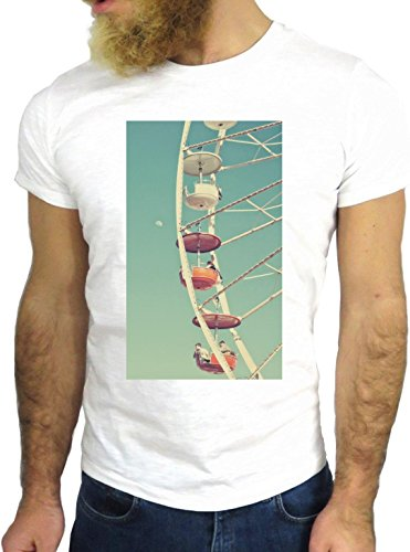 T SHIRT JODE Z1909 FERRIS WHEEL CITY VINTAGE SKYLINE FUN PANORAMA COOL FASHION GGG24 BIANCA - WHITE