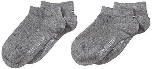 Tommy Hilfiger Mädchen Sneakersocken TH CHILDREN SNEAKER, 2er Pack, Einfarbig, Gr. 27 (Herstellergröße: 27-30), Grau (middle grey melange 758)