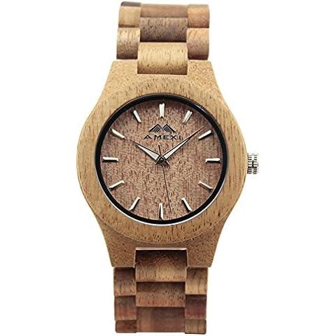 Amexi naturale Acacia orologi in legno per gli uomini e la migliore regalo delle donne - Professionale Orologio Al Quarzo