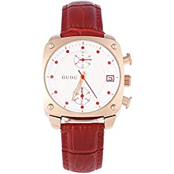 Leopard Shop GUOU 8108 Women Quartz Watch Chronograph Square Dial Artificial Diamond Scale 3ATM Wristwatch Red
