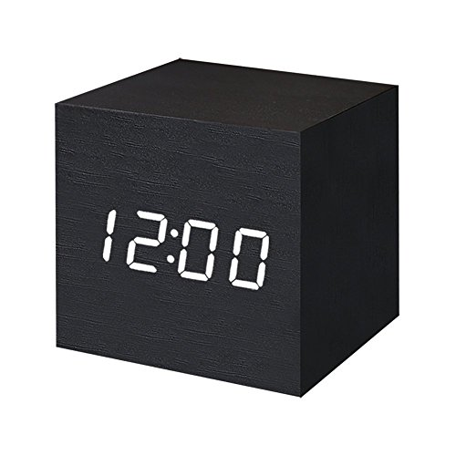 FONCBIEN Despertador Digital LED Madera Mini Reloj gráfico Escritorio Viaje Decoration de casa