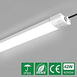 LED Feuchtraumleuchte 42W 150cm Deckenleuchte für Garage Lager Feuchtraum Garten, Tonffi LED Wannenleuchte Werkstattlampe Röhre Innen- und Außenbeleuchtung, Wasserdicht IP65 Tageslicht 4000K-4500K