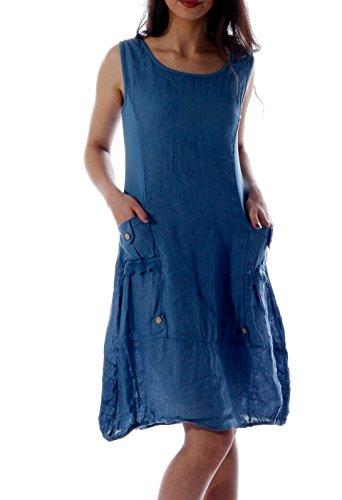 Damen Leinen Kleid ärmellos mit schönen Details (M = 36, Jeans Blau)
