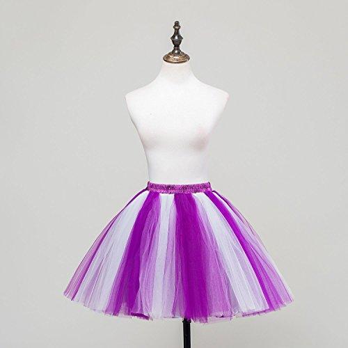 Honeystore Damen's Mini Tutu Ballett Mehrschichtige Rüschen Unterkleid Weiß Violett