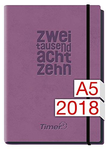 Chäff-Timer Deluxe A5 Kalender 2018 [lila] 12 Monate Jan-Dez 2018 - Gummiband, Einstecktasche - Terminkalender mit Wochenplaner - Organizer - Wochenkalender