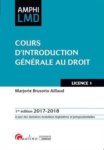 Cours d'introduction générale au droit par Marjorie Brusorio-Aillaud