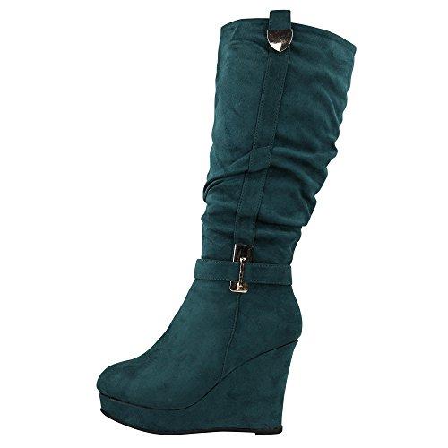 Schuhtraum Damen Stiefel Keilabsatz leicht gefüttert High Heels Boots Wedge Stiefeletten JA72 (40, Grün)