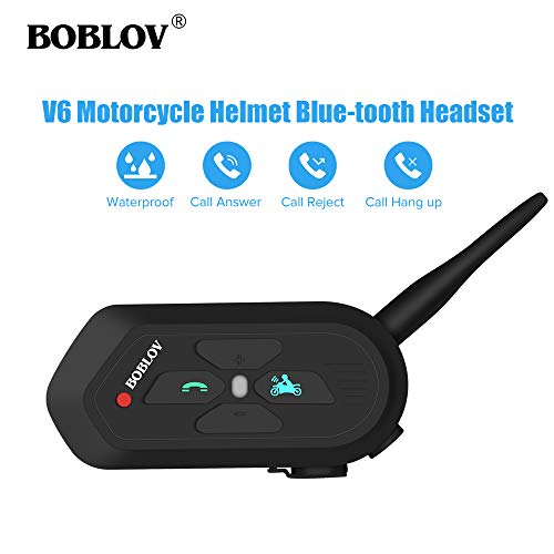 Boblov 2X V6 PRO Interfono Casco Moto 1200M Wireless Blue-Tooth Cuffie Auricolari Passeggero Impermeab