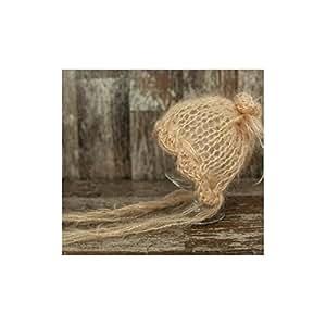 Bonnet béguin en mohair fait main 0-3 mois, modèle camel