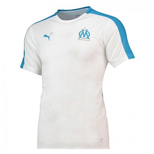 Puma Olympique de Marseille Maillot Pré-Match Stadium Without Sponsor Logo Homme, White/Bleu Azur, FR : M (Taille Fabricant : M)