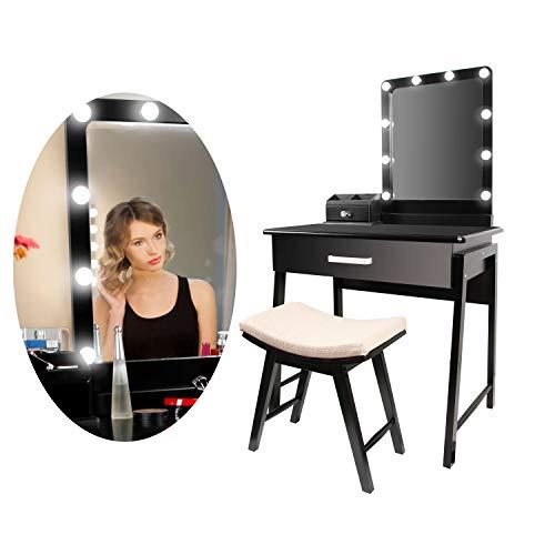 CCLIFE Schminktisch mit Beleuchtung LED Licht Spiegel Hocker Frisiertisch Kosmetiktisch Makeup Table Weiß Modern