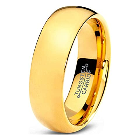 Tungsten Wedding Band Ring 5mm 7mm for Men Women Comfort Fit 18K Yellow Gold Plated Plated Domed Brushed FREE Custom Laser Engraving Lifetime Guarantee
