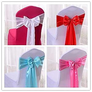 YMOMG Elastische Stuhl-Schleifen mit Satinschleifen, für Hochzeiten, Partys, Dekorationen (Blau 2,10pcs)