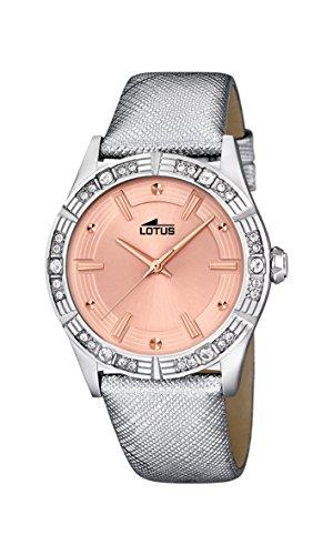 Para mujer de loto de oro rosa y cristales reloj infantil de cuarzo con esfera analógica y plateado correa de piel 15981/3
