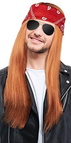 90er Rocker Jahre Kostüm - Balinco Herren 90er Jahre Rocker Kit mit Perücke Rot/Blond + Stirnband + Sonnenbrille