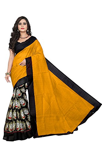 J B Fashion Women's Cotton Sarees With Blouse Piece (Durga-Yellow)