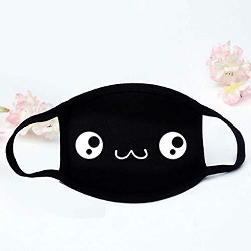 TianranRT❄ Staubmaske,Unisex-Gesichtsmasken Aus Baumwolle Solid Black Mask Half Face Drei-Lagen-Mund Aus Baumwolle (Schwarz) -