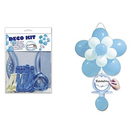 MIRVEN Deco Kit Chupete Azul - Globos para Fiestas Bautizos, Baby Shower Niños Azul